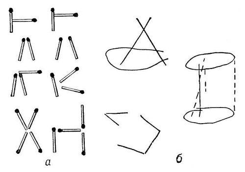 Апраксия: а — складывание из спичек фигур по образцу (слева — образец, справа —выполнение); б — нарисованные больным Апраксия конус, цилиндр и пятиугольник. Апраксия.