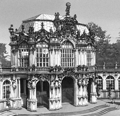 М. Д. Пёппельман. Павильон на валу в ансамбле Цвингер в Дрездене. Германия. 1711—22. Архитектура.