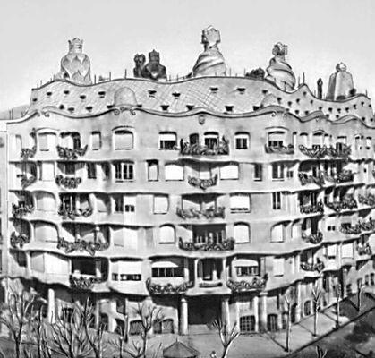 Архитектура Гауди. Жилой дом «Каса Мила» в Барселоне. Испания. 1905—1910. Архитектура.
