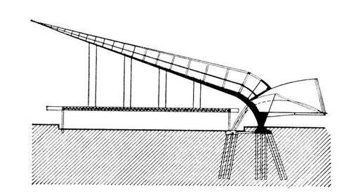 Современная зарубежная архитектура. Павильон гражданской инженерии («железобетонная стрела») на Всемирной выставке в Брюсселе (1958, инженер Архитектура Падюар, архитектор Ж. ван Дорселар), разрез. Архитектура.