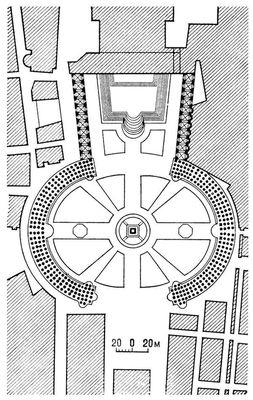 Площадь св. Петра в Риме. 1657—63. Архитектор Л. Бернини. План. Архитектура.