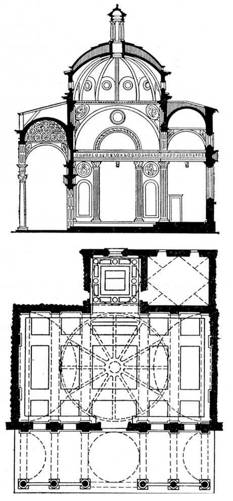 Ф. Брунеллески. Капелла Пацци при церкви Санта-Кроче во Флоренции. Начата в 1429. Вверху — разрез, внизу — план. Архитектура.