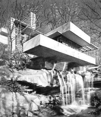 Ф. Л. Райт. Дом Кауфмана («Дом над водопадом») в Бер-Ране. СШАрхитектура 1936. Архитектура.