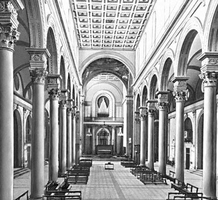 Ф. Брунеллески. Церковь Сан-Лоренцо во Флоренции. Италия. 1422—46, Интерьер. Архитектура.