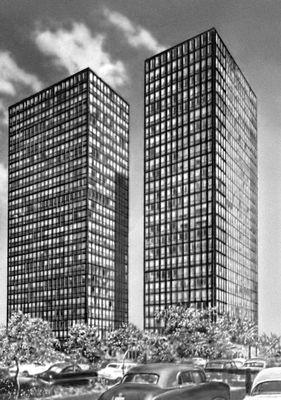 Мис ван дер Роэ. Жилые дома на Лейк Шор Драйв в Чикаго. СШАрхитектура 1950—51. Архитектура.