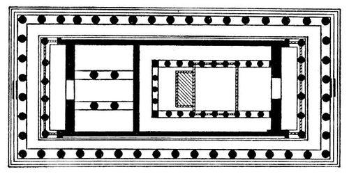 Периптер — тип древнегреческого храма. (Парфенон в Афинах. 447—438 до н. э. Архитекторы Иктин и Калликрат. План.) Архитектура.