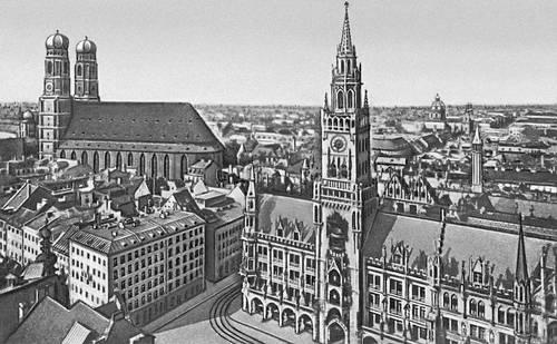 Мюнхен. Вид на центральную часть города. Бавария.