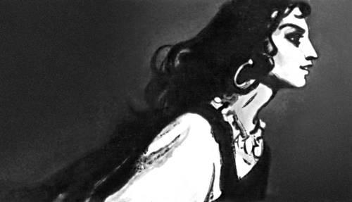 И. Т. Богдеско. «Земфира идет на свидание» (иллюстрация к поэме А. С. Пушкина «Цыганы»). Чёрная акварель. 1956. Богдеско Илья Трофимович.
