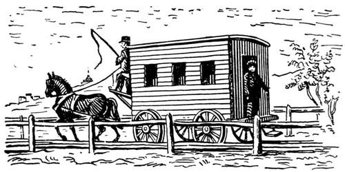 Рис. 1. Повозка с конной тягой для пассажирского сообщения. 20-е гг. 19 в. Вагон.
