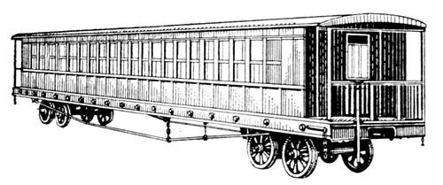 Рис. 4. Первый русский пассажирский вагон, построенный для железной дороги Петербург — Москва. Вагон.