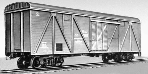 Рис. 13. Четырёхосный крытый вагон грузоподъёмностью 62 т. Вагон.