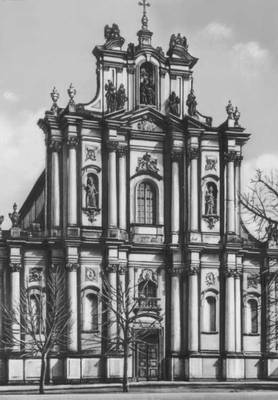 Костёл визиток. 1727—62. Архитекторы К. Бай и Э. Шрёгер. Варшава.