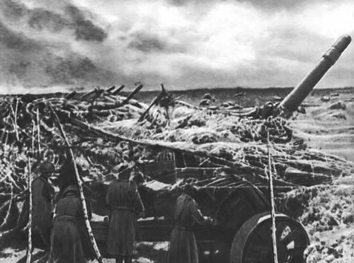 Советская артиллерия на огневых позициях. Июль 1943. Великая Отечественная война Советского Союза 1941-45.