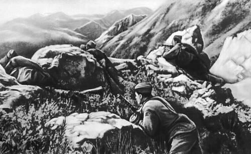 Автоматчики удерживают горный перевал на Кавказе. 1942. Великая Отечественная война Советского Союза 1941-45.