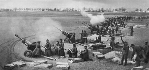 Советская артиллерия ведёт огонь по Берлину. Апрель 1945. Великая Отечественная война Советского Союза 1941-45.