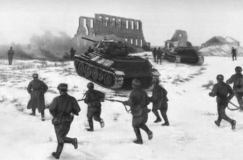 Танки наступают на город Калач. Ноябрь 1942. Великая Отечественная война Советского Союза 1941-45.