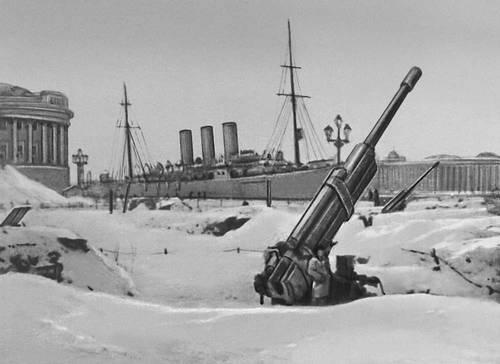 Зенитная батарея на берегу Невы. Зима 1941—42. Великая Отечественная война Советского Союза 1941-45.