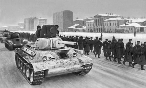 Войска отправляются на фронт с окраины Москвы. Декабрь 1941. Великая Отечественная война Советского Союза 1941-45.