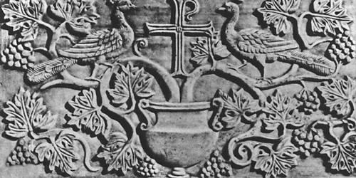 Византия. Резная каменная плита в церкви Сант-Аполлинаре Нуово в Равенне. 6 в. Византия.