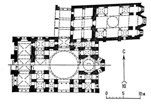 Византия. Монастырь Хосиос Лукас в Фокиде. 11 в. Храм Католикон (внизу) и церковь Богоматери (вверху). Планы. Византия.