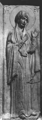 Византия. Рельеф с изображением богоматери. Мрамор. 11 в. Византийское собрание Дамбартон-Окс. Вашингтон. Византия.