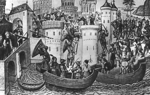 Византия. Взятие Константинополя турецкими войсками. Французская миниатюра 15 в. Византия.