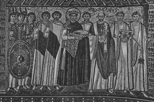 Византия. «Император Юстиниан со свитой». Мозаика церкви Сан-Витале в Равенне. Ок. 547. Византия.