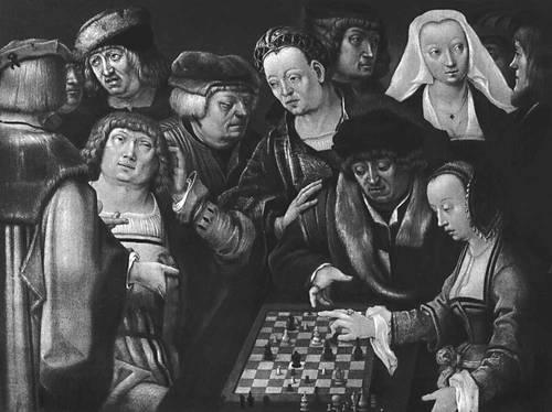 Лука Лейденский. «Игра в шахматы». Около 1508—10. Картинная галерея. Берлин-Далем. Возрождение (Ренессанс).
