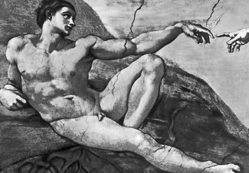 Микеланджело. «Сотворение Адама» (фрагмент). Фреска в Сикстинской капелле в Ватикане. 1508—12. Возрождение (Ренессанс).