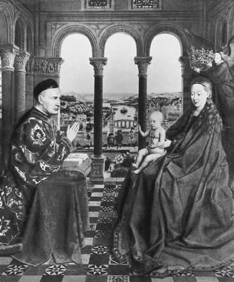 Ян ван Эйк. «Богоматерь канцлера Ролена». Ок. 1436. Лувр. Париж. Возрождение (Ренессанс).