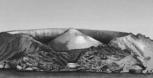 Вулканы. Конус в конусе. (вулкан Баррен, Андаманские острова). Вулкан.