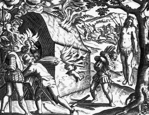 Казнь Анакаоны, предводительницы одного из племён острова Гаити. Гравюра Теодора де Бри. 16 в. Гаити (Республика Гаити).