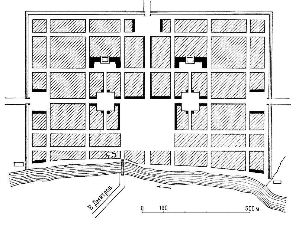Русское градостроительство 18 в. План Богородска (ныне Ногинск), утвержденный в 1784 (прямоугольная система). Градостроительство.