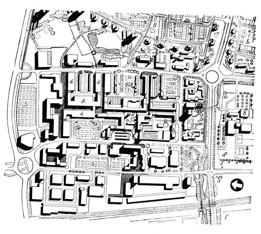 Стивенедж — город-спутник Лондона. Городской центр. 1958—62. План: А — общественный центр (1 — рыночная площадь; 2 — автобусная станция; 3 — главная площадь; 4 — торговые здания и магазины; 5 — стоянка автомашин; 6 — учреждения и конторы; 7 — поликлиника; 8 — школа); Б и В — жилые районы; Г — промышленная зона. Градостроительство.