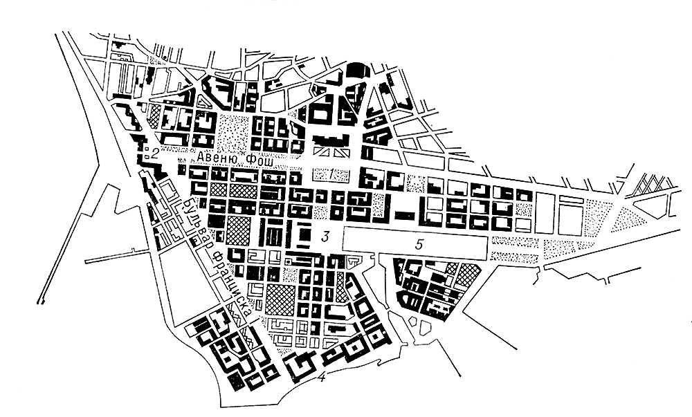 Гавр после восстановления и реконструкции в 1947—56. Архитектор О. Перре. План центра города: 1 — площадь Ратуши; 2 — <span style='font-family:Arial;layout-grid-mode:line'>«</span>Океанские ворота<span style='font-family:Arial;layout-grid-mode:line'>»</span>; 3 — площадь Гамбетты; 4 — порт; 5 — бассейн. Градостроительство.