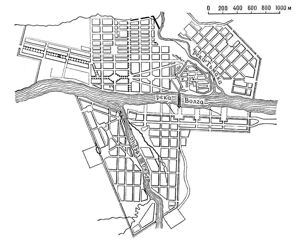 Русское градостроительство 18 в. План Твери (ныне Калинин). 1763—67 (сочетание трехлучевой системы и прямоугольной сетки кварталов). Градостроительство.