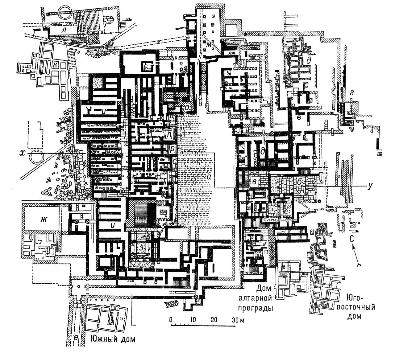 Комплекс дворца в Кносе на острове Крит. 20—15 вв. до н. э. Разрез (по х—у) и план: а — двор; б — жилая часть; в — главная лестница; г — <span style='font-family:Arial;layout-grid-mode:line'>«</span>восточный бастион<span style='font-family:Arial;layout-grid-mode:line'>»</span>; д — склады керамики; е — юго-западный портик; ж — западная пристройка; з — пропилеи; и — западные склады; к — арсенал; л — театр; м — северный зал; о — <span style='font-family:Arial;layout-grid-mode:line'>«</span>старая крепость<span style='font-family:Arial;layout-grid-mode:line'>»</span>; п — тронный зал; р — ступенчатый портик; с — святилище. Дворец.