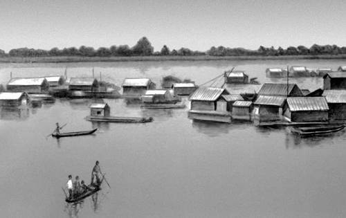 Рыбацкая деревня на р. Меконг в Камбодже. Деревня.