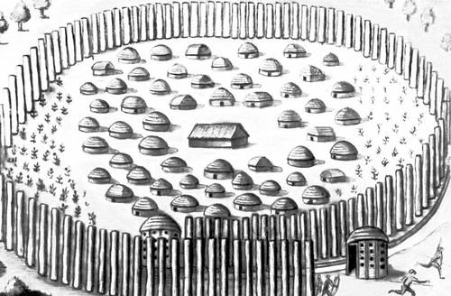 Укрепленное селение индейцев тимуква 16 в. Северная Америка. Деревня.