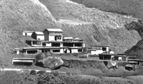 Горный посёлок в Кашмире. Северная Индия. Деревня.