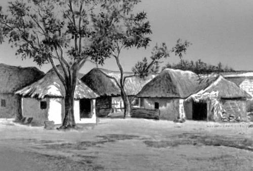 Тамильская деревня в Южной Индии. Деревня.