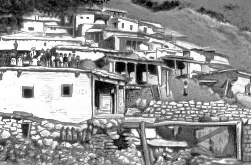 Горное селение на севере Ирана. Деревня.