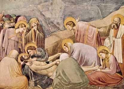 Джотто. «Оплакивание Христа». Фреска в капелле дель Арена в Падуе. 1304—06. Джотто ди Бондоне.