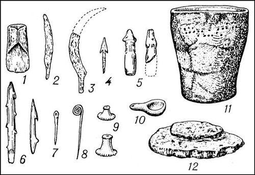 Дьяковская культура. Предметы из древнейших городищ. Железные изделия: 1 — топор; 2 — нож; 3 — серп; 4 — наконечник стрелы. Изделия из кости: 5 — рукоятки ножей; 6 — гарпуны; 7 — булавка; 8 — бронзовая булавка. Изделия из глины: 9 — грузики; 10 — льячек; 11 — сосуд с «сетчатым», или «текстильным», орнаментом; 12 — каменная ручка зернотёрка. Дьяковская культура.