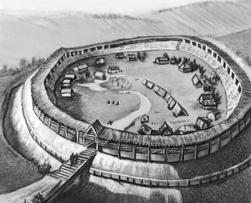 Екимауцы. Реконструкция общего вида городища 9—11 вв. Екимауцы.