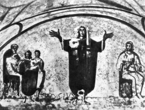 Фреска в катакомбе Присциллы в Риме. 3—4 вв. (возможно, около 220—240). Живопись.