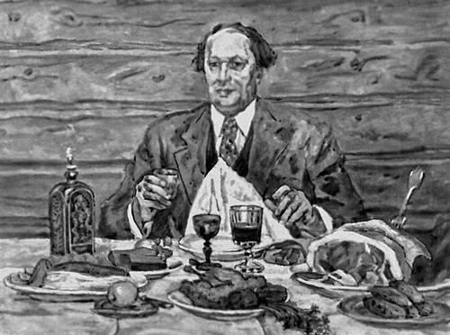 П. П. Кончаловский. «А. Н. Толстой в гостях у художника». 1941. Живопись.