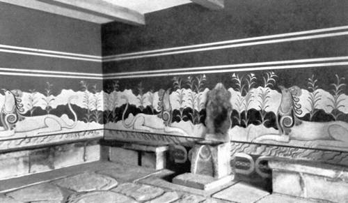 Роспись тронного зала в Кносском дворце. Крит. 1700—1400 до н. э. Живопись.