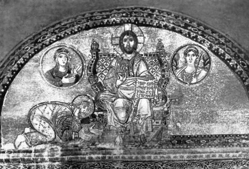 «Император Лев VI перед Христом». Мозаика храма св. Софии в Константинополе. Между 886—912. Живопись.