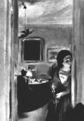 А. фон Менцель. «Интерьер с сестрой художника». 1847. Новая галерея. Мюнхен. Живопись.